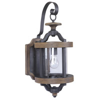 Ashwood 1 Light 23 inch Textured Black and Whiskey Barrel Outdoor Wall Lantern in Clear Glass, Medium