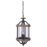 Ashwood 2 Light 11 inch Textured Black and Whiskey Barrel Outdoor Pendant in Clear Glass