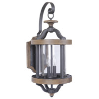Ashwood 2 Light 26 inch Textured Black and Whiskey Barrel Outdoor Wall Mount in Clear Glass