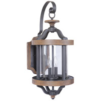 Craftmade Z7924-TBWB Ashwood 2 Light 26 inch Textured Black and Whiskey Barrel Outdoor Wall Lantern, Large photo thumbnail