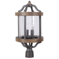 Ashwood 2 Light 22 inch Textured Black and Whiskey Barrel Outdoor Post Mount in Clear Glass