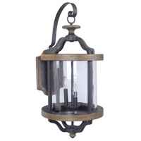 Ashwood 3 Light 29 inch Textured Black and Whiskey Barrel Outdoor Wall Mount in Clear Glass
