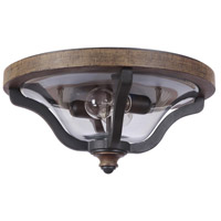 Ashwood 2 Light 16 inch Textured Black and Whiskey Barrel Outdoor Flush Mount in Clear Glass
