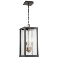 Farnsworth 4 Light 10 inch Midnight and Patina Aged Brass Outdoor Pendant
