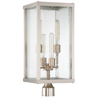 Farnsworth 4 Light 24 inch Brushed Polished Nickel and Patina Aged Brass Outdoor Post Light, Large