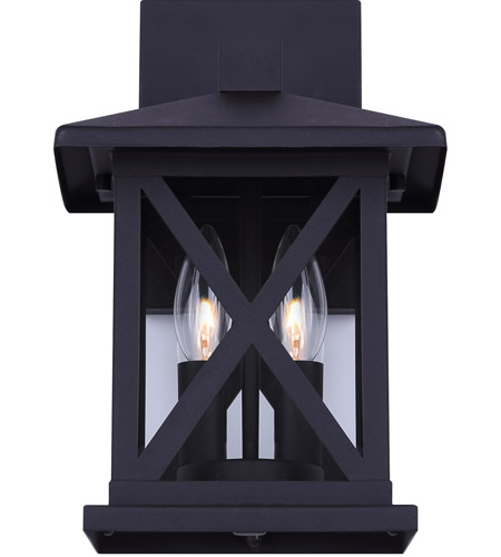 Canarm Iol402bk Elm 2 Light 13 Inch Black Outdoor Down