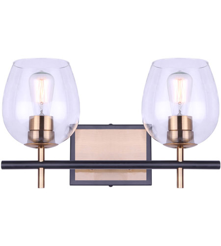 Canarm Ivl1019a02bkg Cain 2 Light 16 Inch Black And Gold Vanity Light Wall Light