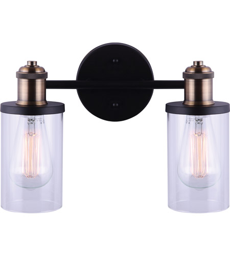 Canarm Ivl745a02bkg Cecilia 2 Light 13 Inch Matte Black And Gold Vanity Light Wall Light