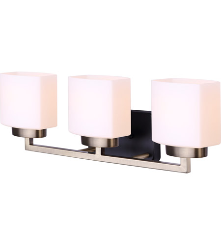 Canarm Ivl751a03bkg Sutherland 3 Light 23 Inch Matte Black And Gold Vanity Light Wall Light