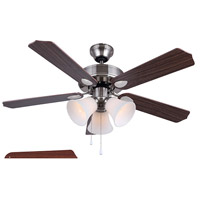 Rue 42 inch Brushed Nickel with Cherry/Walnut Blades Ceiling Fan, Dual Mount