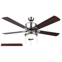 Brae 52 inch Brushed Nickel with Cherry/Walnut Blades Ceiling Fan, Dual Mount