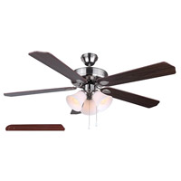 Rue 52 inch Brushed Nickel with Cherry/Walnut Blades Ceiling Fan, Dual Mount