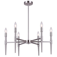 Canarm ICH1009A06BN24 Florence 6 Light 24 inch Brushed Nickel Chandelier Ceiling Light