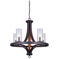Arrow 5 Light 25 inch Oil Rubbed Bronze And Faux Wood Chandelier Ceiling Light