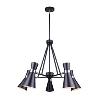 Canarm ICH668A05BKN Griffith 5 Light 26 inch Black and Brushed Nickel Chandelier Ceiling Light in Matte Black and Brushed Nickel