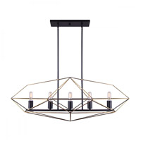 Canarm ICH676A05BKG40 Greer 5 Light 40 inch Black and Gold Chandelier Ceiling Light