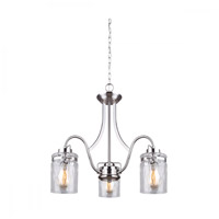 Canarm ICH707A03BN Arden 3 Light 23 inch Brushed Nickel Chandelier Ceiling Light