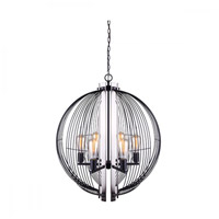 Canarm ICH708A06BKN Memphis 6 Light 25 inch Black and Brushed Nickel Chandelier Ceiling Light in Matte Black and Brushed Nickel