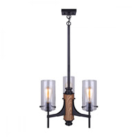 Canarm ICH710A03BKW Arlie 3 Light 18 inch Black and Wood Chandelier Ceiling Light in Matte Black and Faux Wood