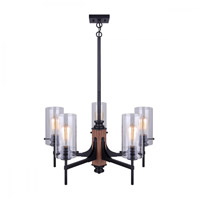 Canarm ICH710A05BKW Arlie 5 Light 24 inch Black and Wood Chandelier Ceiling Light in Matte Black and Faux Wood