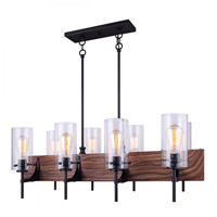 Canarm ICH710A08BKW Arlie 8 Light 36 inch Black and Wood Chandelier Ceiling Light in Matte Black and Faux Wood
