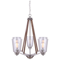 Canarm ICH742A05BNW Dex 5 Light 26 inch Brushed Nickel and Faux Wood Chandelier Ceiling Light