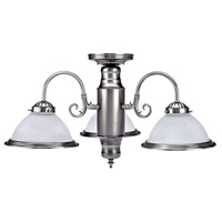 Halophane 3 Light 7 inch Brushed Pewter Chandelier Ceiling Light
