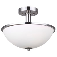 Hampton 3 Light 17 inch Brushed Nickel Semi-Flushmount Ceiling Light