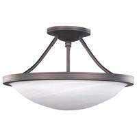 Alabaster 3 Light 15 inch Oil Rubbed Bronze Semi-Flushmount Ceiling Light