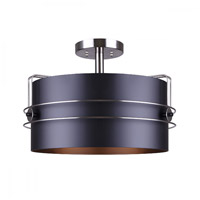 Silas 3 Light 17 inch Black and Brushed Nickel Semi-Flush Mount Ceiling Light in Matte Black and Brushed Nickel