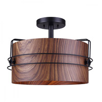 Silas 3 Light 17 inch Black and Wood Semi-Flush Mount Ceiling Light in Matte Black and Faux Wood