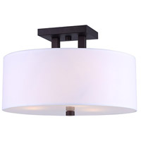 River 3 Light 15 inch Oil Rubbed Bronze Semi-Flushmount Ceiling Light