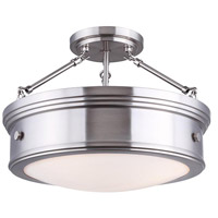 Canarm ISF624A03BN Boku 3 Light 15 inch Brushed Nickel Semi-Flushmount Ceiling Light