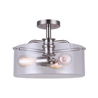 Albany 3 Light 15 inch Brushed Nickel Semi-Flush Mount Ceiling Light