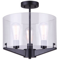 Joni 3 Light 15 inch Matte Black Semi-Flush Mount Ceiling Light