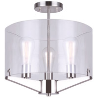 Joni 3 Light 15 inch Brushed Nickel Semi-Flush Mount Ceiling Light
