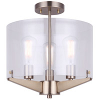 Joni 3 Light 15 inch Gold Semi-Flush Mount Ceiling Light