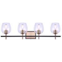 Canarm IVL1019A04BKG Cain 4 Light 34 inch Black and Gold Vanity Light Wall Light