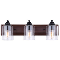 Balsa 3 Light 24 inch Black And Faux Wood Vanity Wall Light