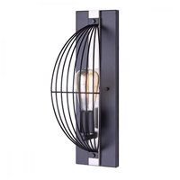 Canarm IWF708A01BKN Memphis 1 Light 6 inch Black and Brushed Nickel Wall Fixture Wall Light in Matte Black and Brushed Nickel