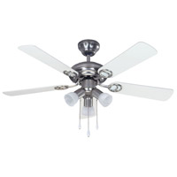 Jasper 42 inch Brushed Pewter with Walnut/White Blades Indoor Ceiling Fan, Dual Mount
