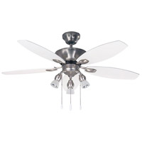 Lexington 42 inch Brushed Pewter with White/Walnut Blades Indoor Ceiling Fan, Dual Mount