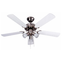 Omni 42 inch Brushed Pewter with White/Grey Blades Indoor Ceiling Fan