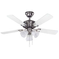 Seymour 42 inch Brushed Pewter with Walnut/White Blades Indoor Ceiling Fan, Dual Mount