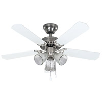 Tradition 42 inch Brushed Pewter with White/Bleached Oak Blades Indoor Ceiling Fan