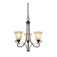 Brighton 3 Light 20 inch Oil Rubbed Bronze Chandelier Ceiling Light in Light Amber, CFL