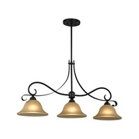 Cornerstone by Elk Brighton 3 Light Island Pendant in Oil Rubbed Bronze with Light Amber Glass 1003IS/10