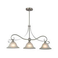 Cornerstone by Elk Brighton 3 Light Island Pendant in Brushed Nickel with White Glass 1003IS/20