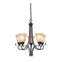 Brighton 5 Light 22 inch Oil Rubbed Bronze Chandelier Ceiling Light in Light Amber, CFL