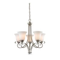 Brighton 5 Light 22 inch Brushed Nickel Chandelier Ceiling Light in White, CFL